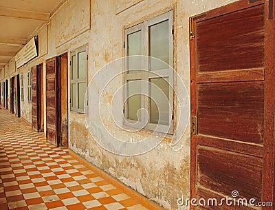 Tuol sleng тюрьмы phnom penh Редакционное Фотография