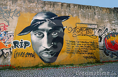 Tupac Shakur Graffiti Editorial Stock Photo