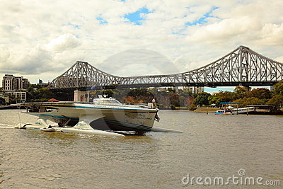 Turanor arriving into Brisbane River Story Bridge Editorial Stock Photo