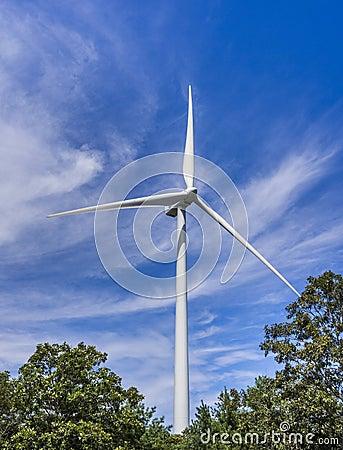 Turbina de viento en el bosque