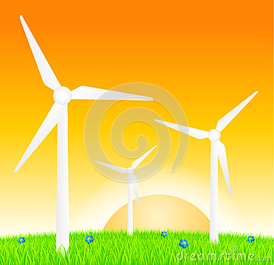 Turbine di vento sul prato