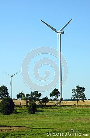 Turbines in wind farm