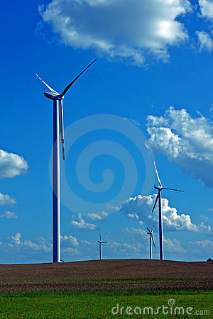 Turbines in wind farm