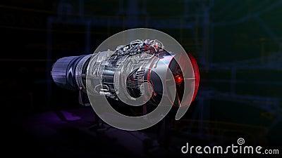 Turbomotor-Schwarz-Zauber-Rot-Jet stock abbildung