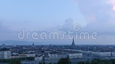 Turin high definition panorama with the Mole Antonelliana stock video