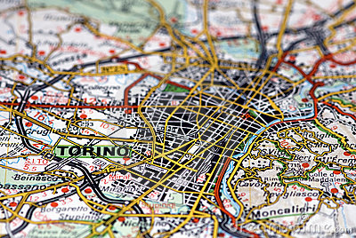 Turin on the map - Italy