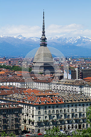 Turin - Mole Antonelliana - view of city and Alps