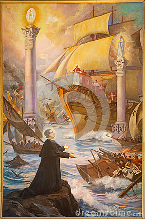Free Turin - The Painting Of Glorious Dreams Of Don Bosco `Sogno-Due-Colonne-Don-Bosco` Or The Two Pillars Royalty Free Stock Images - 96755809
