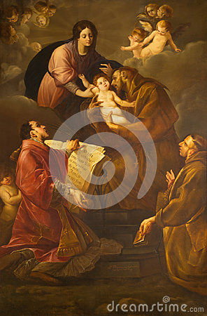 Free Turin - The Painting Of Madonna With The St. Francis Of Asissi And St. Lorenzo In Church Chiesa Di Santa Maria In Monte Stock Photos - 96760133