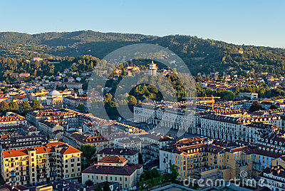 Turin (Torino), Italy, panoramic view on Piazza Vi