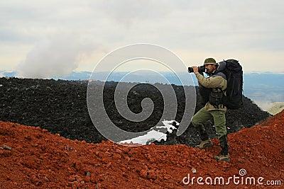 Turist-photographer. Kamchatka
