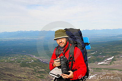 Turist-photographer. Kamchatka
