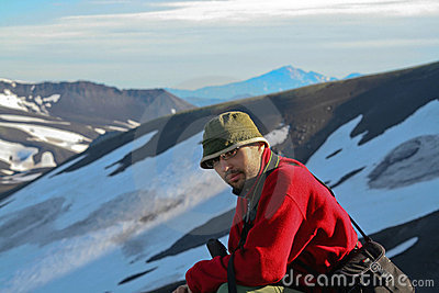 Turist-photographer. Kamchatka.