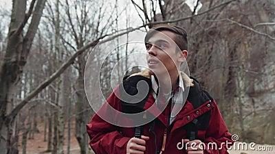 Turista atractivo joven descuidado que vaga en el bosque del otoño con una mochila Aventura grande Retrato masculino almacen de video