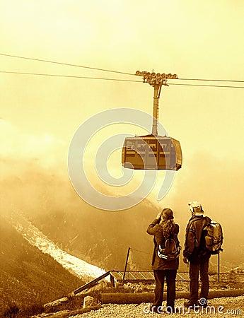 Turistas en la montaña