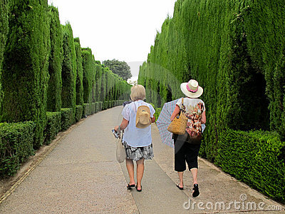 Turistas que recorren - entrada de Alhambra