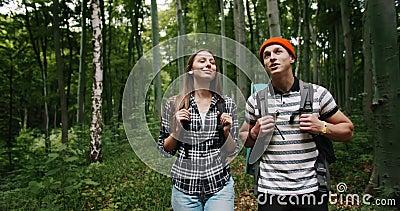 Turistas sorprendentes en bosque metrajes