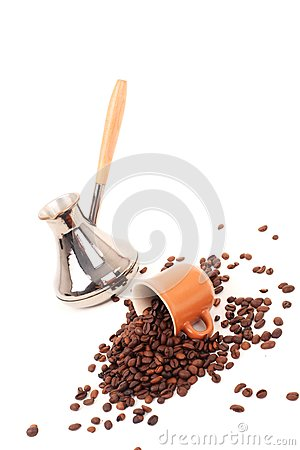 Turk and coffee cup on a white background