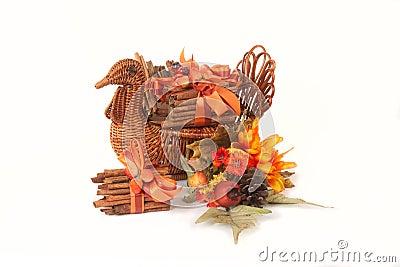 Turkey Basket with Cinnamon Stick