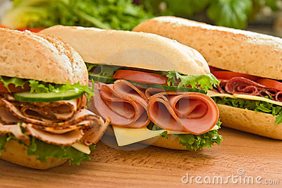 Turkey breast, ham & swiss and salami sandwiches