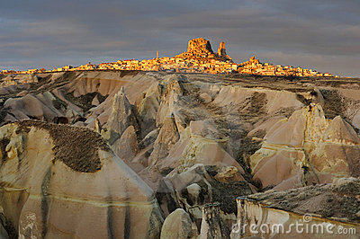 Turkey. Cappadocia. View on rock-castle of Uchisar