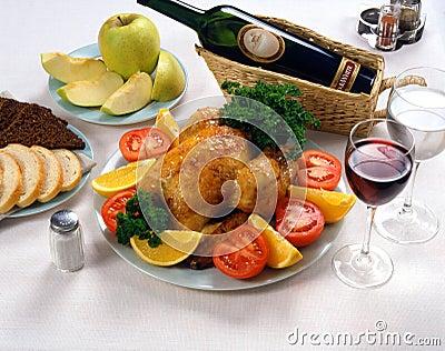 Turkey dinner with wine