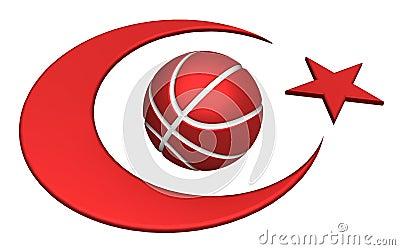 Turkey flag with basketball