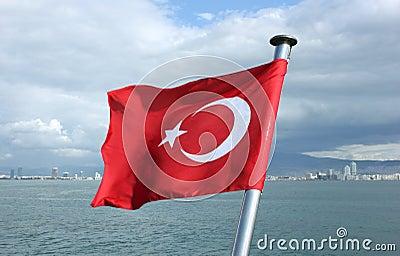 Turkey flag on Izmir bay background