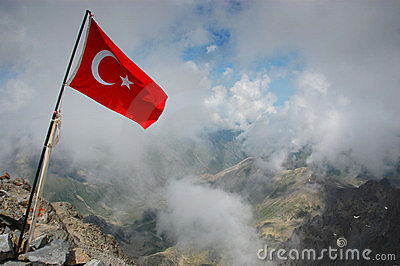 Turkey flag on mountain summit