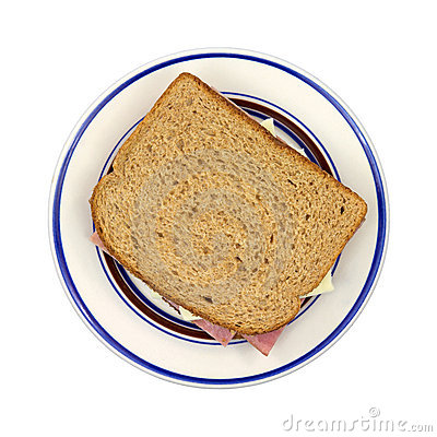 Turkey ham and cheese sandwich on plate
