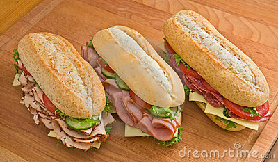 Turkey, ham and salami sandwiches