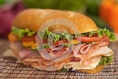 Turkey & ham sub with fresh veggies