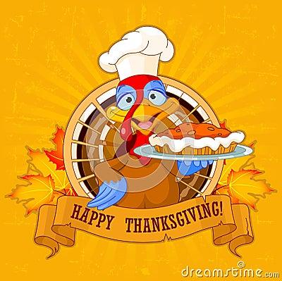 Turkey Holds Pie Vector Illustration
