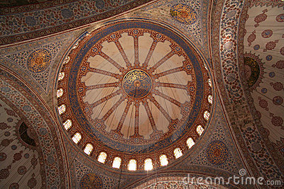 Turkey. Istanbul. Inside of the Blue mosque
