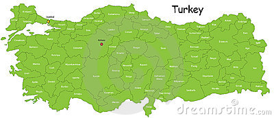 Turkey map Cartoon Illustration