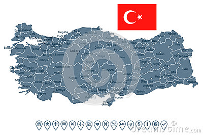 Turkey - map and flag - illustration Cartoon Illustration