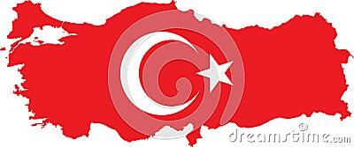 Turkey Map With Turkish Flag Stock Image Image 16017561
