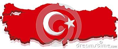 Turkey Map with Turkish Flag 3D