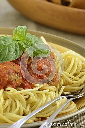 Turkey meatball spaghetti dinner