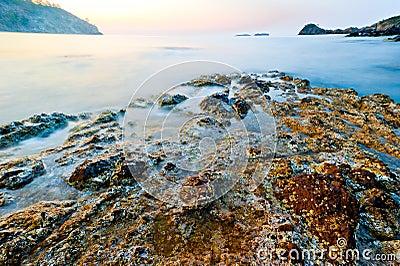 Turkey Phaselis, sunken into sea ruins of an ancient civilization