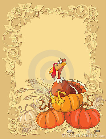Turkey and pumpkin background