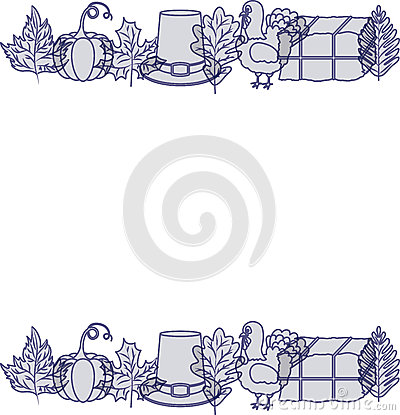turkey pumpkin leaf hay and hat design Cartoon Illustration