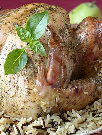 Turkey with  rice and basil
