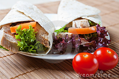 Turkey, salad, and stuffing wraps