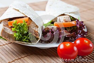 Turkey, salad, and stuffing wraps