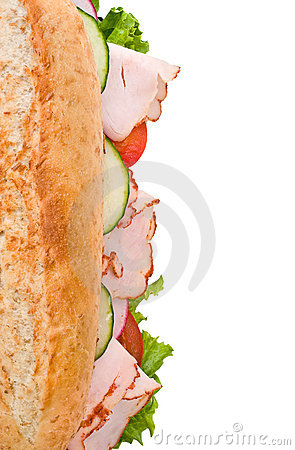 Free Turkey Sandwich Top View Isolated On White Royalty Free Stock Photography - 4853087
