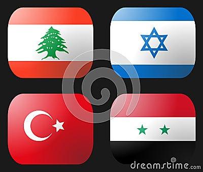 Turkey Syria Lebanon Israel Flag
