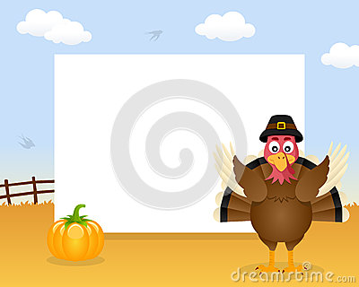 Turkey Thanksgiving Horizontal Frame Vector Illustration