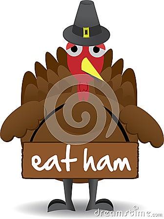 turkey wearing eat ham sign antiturkey stock images