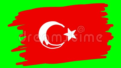 Turkije trekt vlag op groene achtergrond stock illustratie